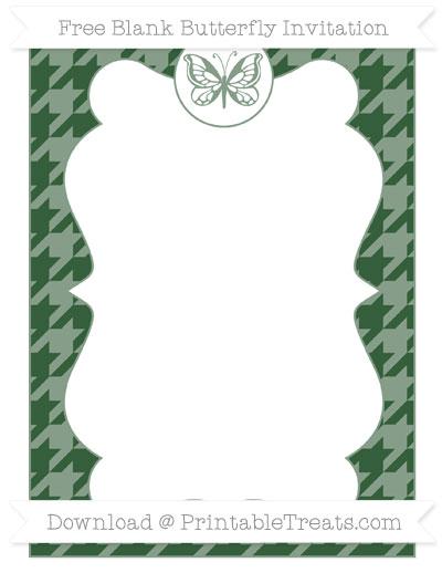 Free Hunter Green Houndstooth Pattern Blank Butterfly Invitation