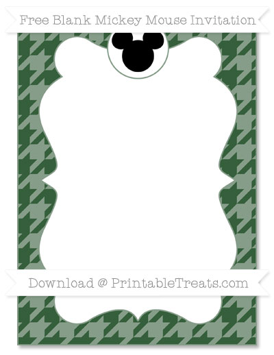 Free Hunter Green Houndstooth Pattern Blank Mickey Mouse Invitation