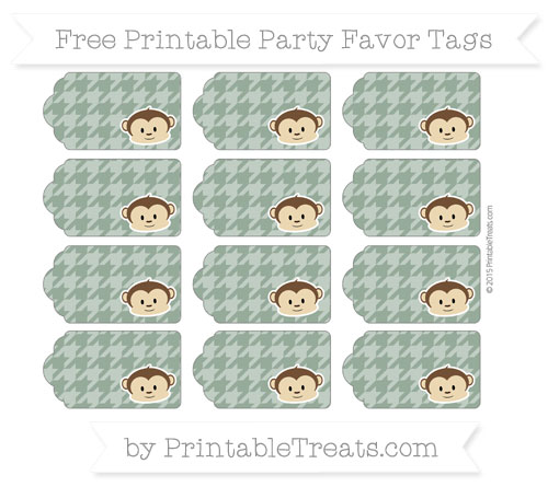 Free Hunter Green Houndstooth Pattern Boy Monkey Party Favor Tags
