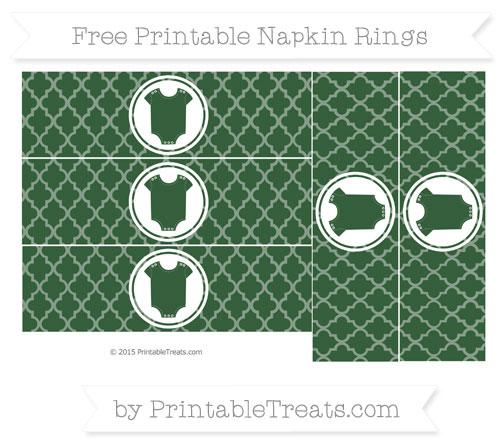 Free Hunter Green Moroccan Tile Baby Onesie Napkin Rings