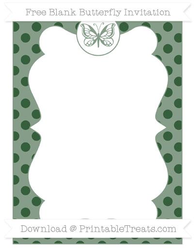 Free Hunter Green Polka Dot Blank Butterfly Invitation