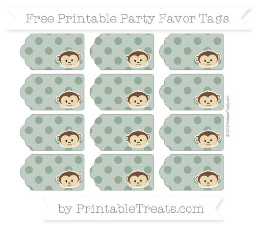 Free Hunter Green Polka Dot Boy Monkey Party Favor Tags