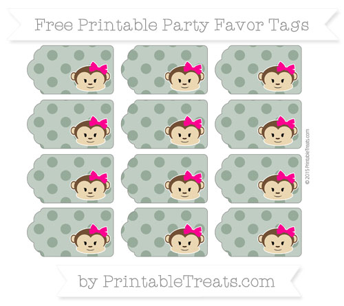 Free Hunter Green Polka Dot Girl Monkey Party Favor Tags
