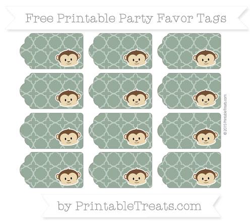 Free Hunter Green Quatrefoil Pattern Boy Monkey Party Favor Tags