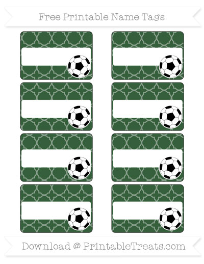 Free Hunter Green Quatrefoil Pattern Soccer Name Tags