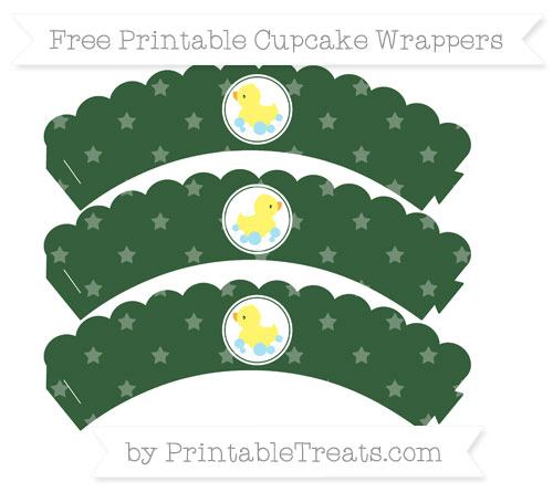 Free Hunter Green Star Pattern Baby Duck Scalloped Cupcake Wrappers