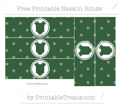 Free Hunter Green Star Pattern Baby Onesie Napkin Rings