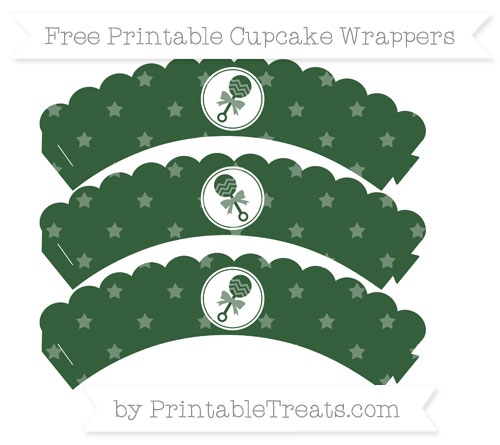 Free Hunter Green Star Pattern Baby Rattle Scalloped Cupcake Wrappers