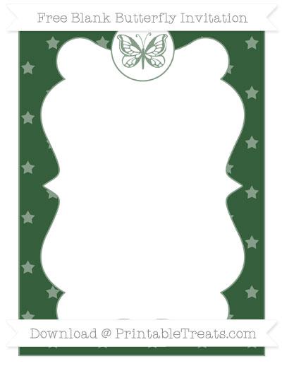 Free Hunter Green Star Pattern Blank Butterfly Invitation