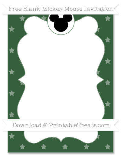 Free Hunter Green Star Pattern Blank Mickey Mouse Invitation