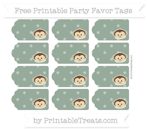 Free Hunter Green Star Pattern Boy Monkey Party Favor Tags
