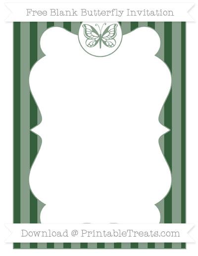 Free Hunter Green Striped Blank Butterfly Invitation