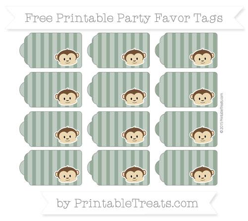 Free Hunter Green Striped Boy Monkey Party Favor Tags