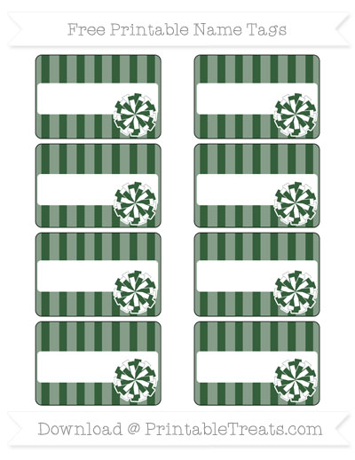 Free Hunter Green Striped Cheer Pom Pom Tags