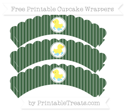 Free Hunter Green Thin Striped Pattern Baby Duck Scalloped Cupcake Wrappers