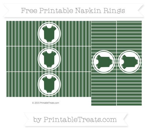 Free Hunter Green Thin Striped Pattern Baby Onesie Napkin Rings