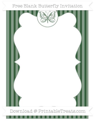 Free Hunter Green Thin Striped Pattern Blank Butterfly Invitation