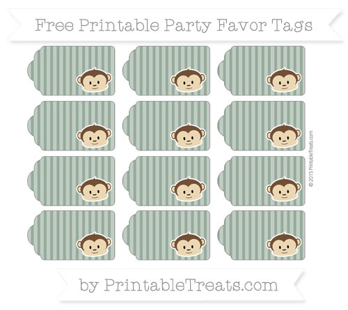 Free Hunter Green Thin Striped Pattern Boy Monkey Party Favor Tags