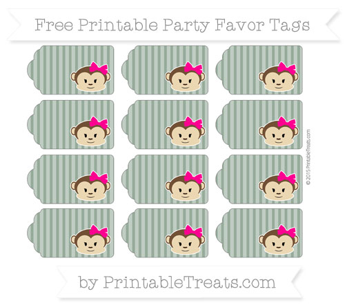 Free Hunter Green Thin Striped Pattern Girl Monkey Party Favor Tags