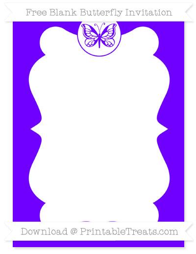Free Indigo Blank Butterfly Invitation