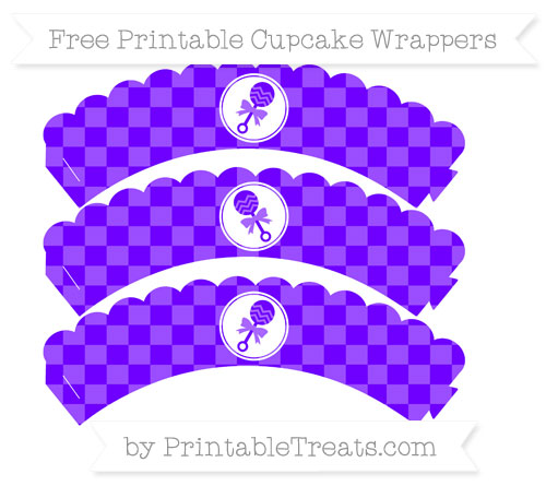 Free Indigo Checker Pattern Baby Rattle Scalloped Cupcake Wrappers
