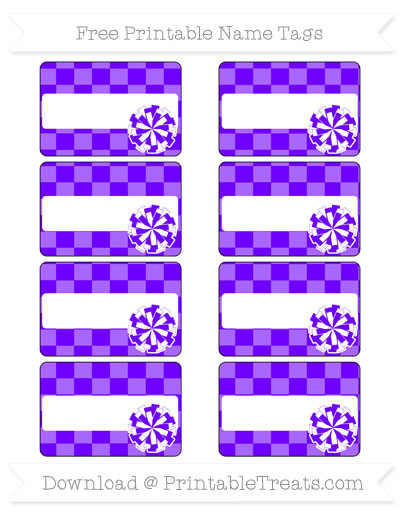 Free Indigo Checker Pattern Cheer Pom Pom Tags