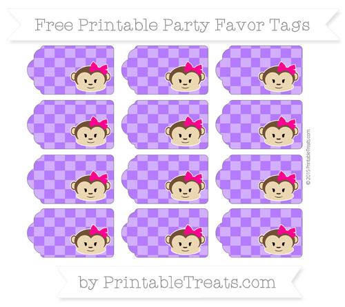 Free Indigo Checker Pattern Girl Monkey Party Favor Tags
