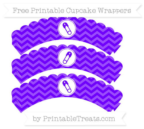 Free Indigo Chevron Diaper Pin Scalloped Cupcake Wrappers