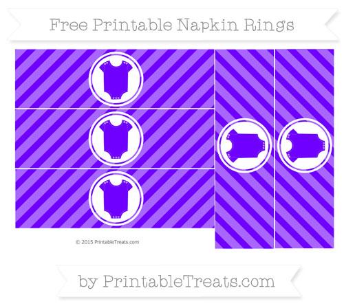 Free Indigo Diagonal Striped Baby Onesie Napkin Rings