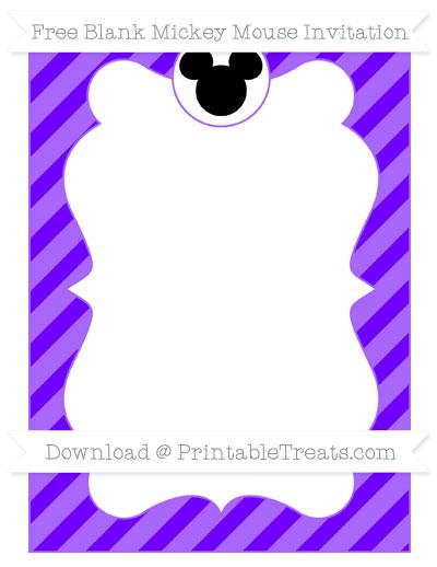 Free Indigo Diagonal Striped Blank Mickey Mouse Invitation