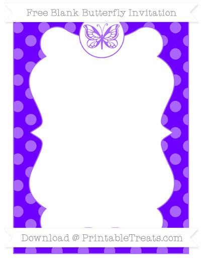 Free Indigo Dotted Pattern Blank Butterfly Invitation