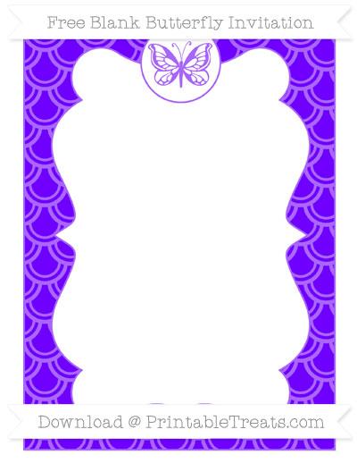 Free Indigo Fish Scale Pattern Blank Butterfly Invitation