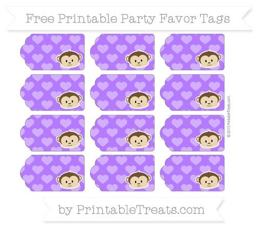 Free Indigo Heart Pattern Boy Monkey Party Favor Tags