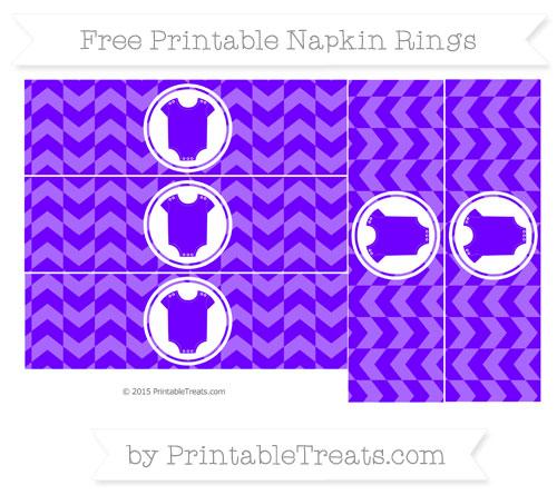 Free Indigo Herringbone Pattern Baby Onesie Napkin Rings