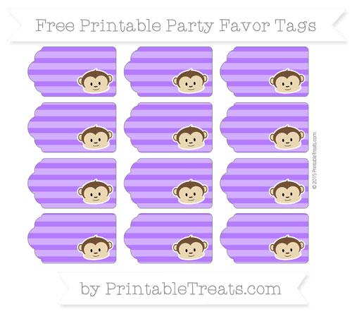 Free Indigo Horizontal Striped Boy Monkey Party Favor Tags