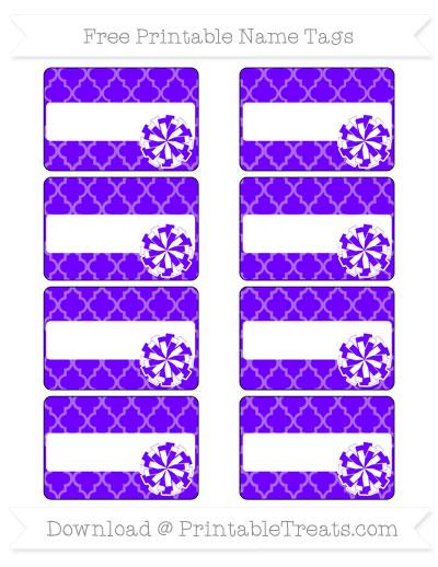 Free Indigo Moroccan Tile Cheer Pom Pom Tags