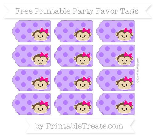 Free Indigo Polka Dot Girl Monkey Party Favor Tags
