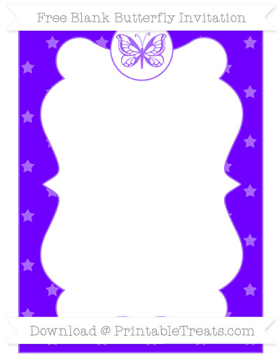 Free Indigo Star Pattern Blank Butterfly Invitation