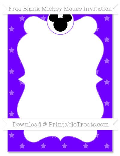 Free Indigo Star Pattern Blank Mickey Mouse Invitation
