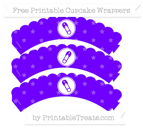 Free Indigo Star Pattern Diaper Pin Scalloped Cupcake Wrappers
