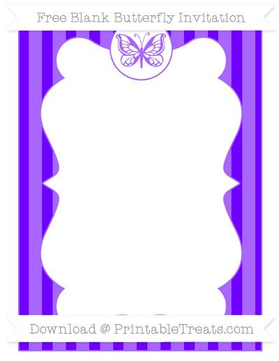 Free Indigo Striped Blank Butterfly Invitation