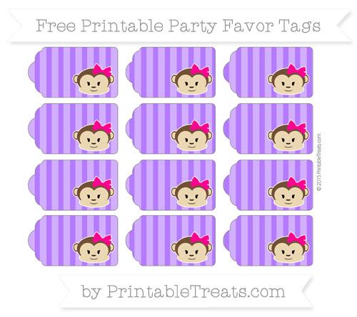 Free Indigo Striped Girl Monkey Party Favor Tags