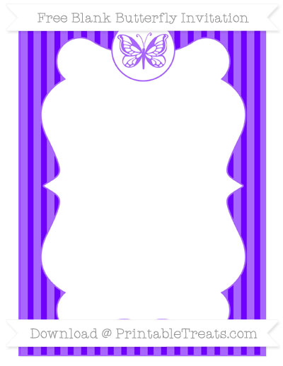 Free Indigo Thin Striped Pattern Blank Butterfly Invitation