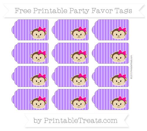 Free Indigo Thin Striped Pattern Girl Monkey Party Favor Tags
