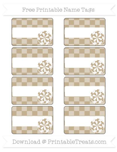 Free Khaki Checker Pattern Cheer Pom Pom Tags