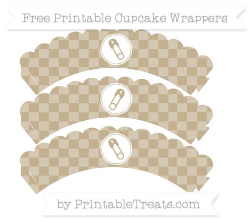Free Khaki Checker Pattern Diaper Pin Scalloped Cupcake Wrappers