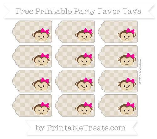Free Khaki Checker Pattern Girl Monkey Party Favor Tags