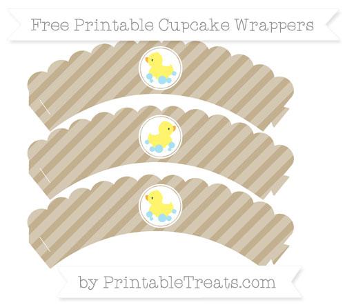 Free Khaki Diagonal Striped Baby Duck Scalloped Cupcake Wrappers