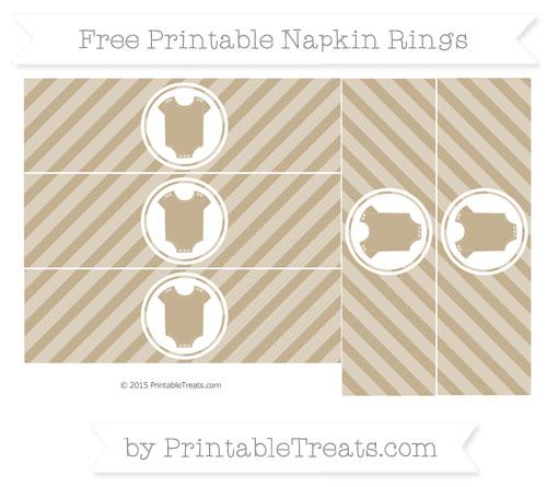 Free Khaki Diagonal Striped Baby Onesie Napkin Rings
