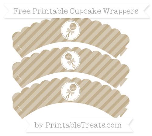 Free Khaki Diagonal Striped Baby Rattle Scalloped Cupcake Wrappers